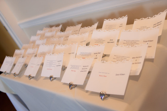 Mandy & Rich's Wedding Escort Cards at the Rhinecliff Hotel