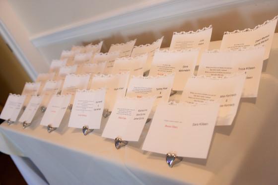 Mandy & Rich's Wedding Escort Cards at the Rhinecliff Hotel
